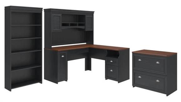 L Shaped Desks Bush Furniture Four Piece Office Suite