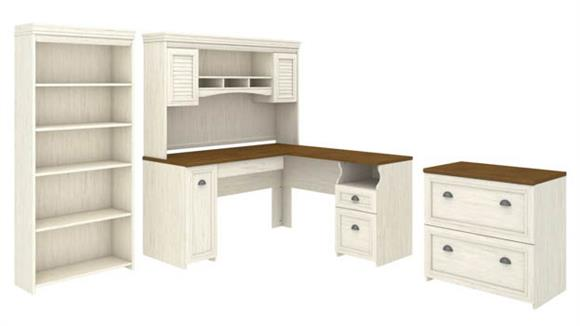 "L Shaped Desks Bush Furniture 60""W L-Shaped Desk with Hutch, Lateral File Cabinet and 5 Shelf Bookcase"