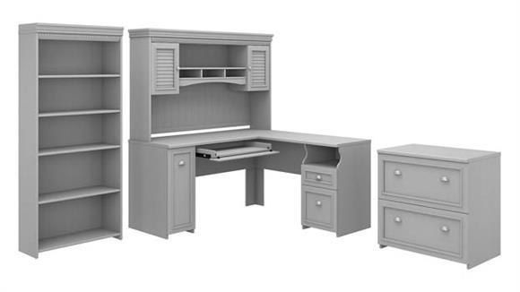 "L Shaped Desks Bush Furniture 60""W L-Shaped Desk with Hutch, Lateral File Cabinet and 5 Shelf Bookcase"