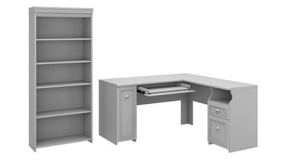 "L Shaped Desks Bush Furniture 60""W L-Shaped Desk with 5 Shelf Bookcase"