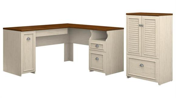 "L Shaped Desks Bush Furniture 60""W L-Shaped Desk and Storage Cabinet with File Drawer"