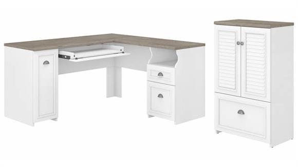 """L Shaped Desks Bush Furniture 60""""W L-Shaped Desk and Storage Cabinet with File Drawer"""