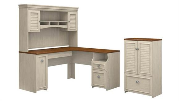 "L Shaped Desks Bush Furniture 60""W L-Shaped Desk with Hutch and Storage Cabinet with File Drawer"