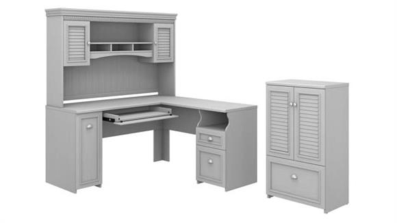 """L Shaped Desks Bush Furniture 60"""" W L-Shaped Desk with Hutch and Storage Cabinet with File Drawer"""