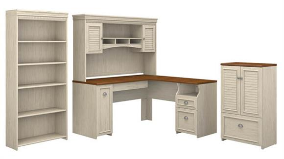 "L Shaped Desks Bush Furniture 60""W L Shaped Desk with Hutch, Storage Cabinet with Drawer and 5 Shelf Bookcase"