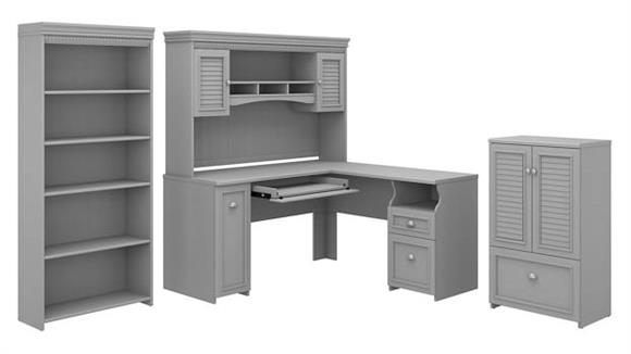 "L Shaped Desks Bush Furniture 60""W L-Shaped Desk with Hutch, Storage Cabinet with Drawer and 5 Shelf Bookcase"