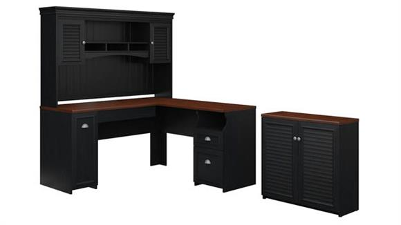 "L Shaped Desks Bush Furniture 60""W L-Shaped Desk with Hutch and Small Storage Cabinet"