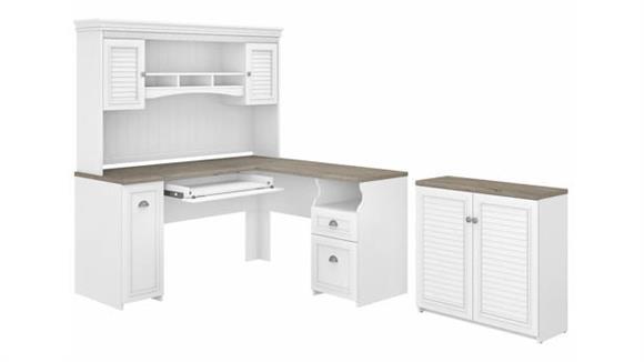 "L Shaped Desks Bush Furniture 60"" W L-Shaped Desk with Hutch and Small Storage Cabinet"