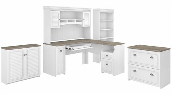 "L Shaped Desks Bush Furniture 60"" W L-Shaped Desk with Hutch, Lateral File Cabinet, Bookcase and Storage Cabinet"