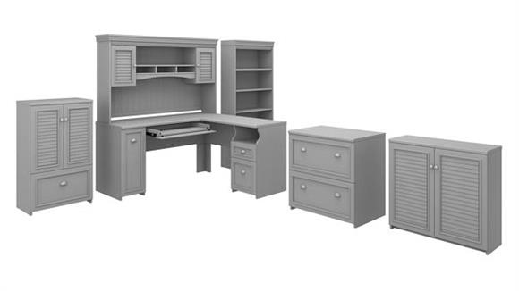 "L Shaped Desks Bush Furniture 60""W L-Shaped Desk with Hutch, Lateral File Cabinet, Bookcase and 2 Storage Cabinets"