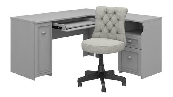 "L Shaped Desks Bush Furniture 60""W L-Shaped Desk with Mid Back Tufted Office Chair"