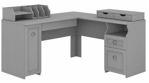 "L Shaped Desks Bush Furniture 60"" W L-Shaped Desk with Storage and Desktop Organizers"