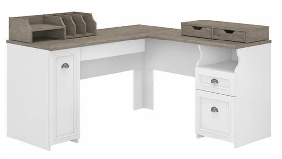 "L Shaped Desks Bush Furniture 60""W L-Shaped Desk with Storage and Desktop Organizers"