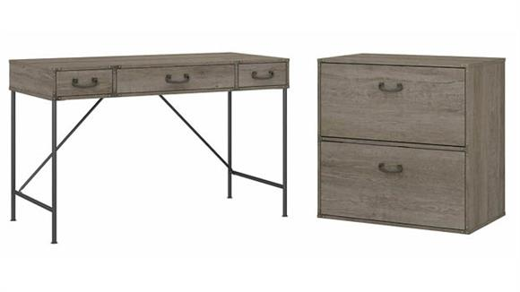 """Writing Desks Bush Furniture 48""""W Writing Desk and Lateral File Cabinet"""