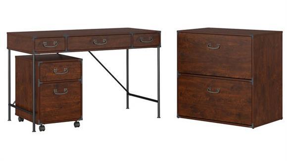 "Writing Desks Bush Furniture 48"" W Writing Desk, Mobile File Cabinet and Lateral File Cabinet"