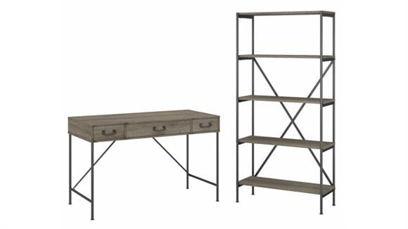"""Writing Desks Bush Furniture 48""""W Writing Desk with Drawers and 5 Shelf Etagere Bookcase"""