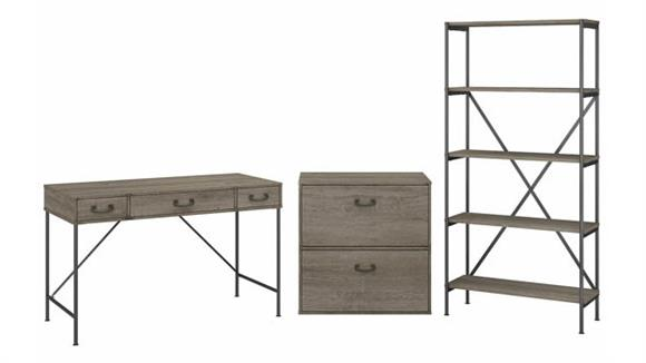 """Writing Desks Bush Furniture 48""""W Writing Desk with Lateral File Cabinet and 5 Shelf Bookcase"""