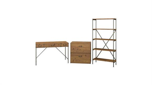 """Writing Desks Bush Furniture 48"""" W Writing Desk with Lateral File Cabinet and 5 Shelf Bookcase"""