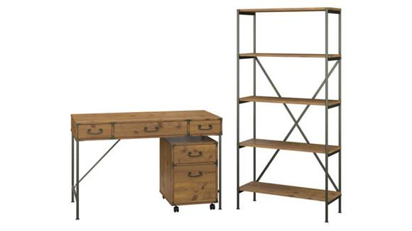 """Writing Desks Bush Furniture 48"""" W Writing Desk with Mobile File Cabinet and 5 Shelf Bookcase"""