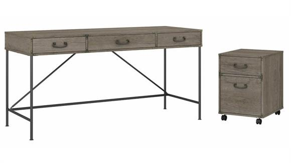 "Writing Desks Bush Furniture 60""W Writing Desk with 2 Drawer Mobile File Cabinet"