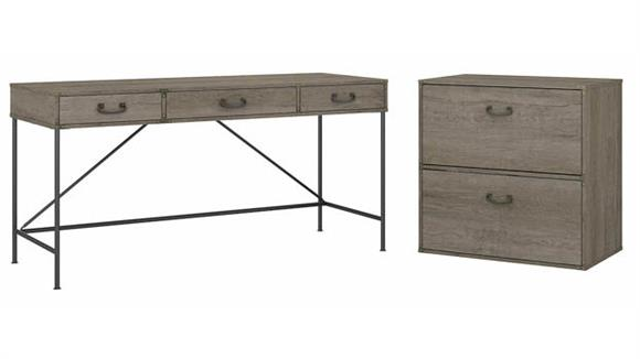 """Writing Desks Bush Furniture 60""""W Writing Desk with Lateral File Cabinet"""