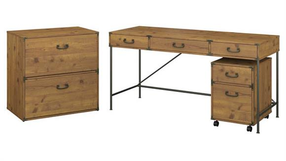 """Writing Desks Bush Furniture 60""""W Writing Desk with Mobile File Cabinet and Lateral File Cabinet"""