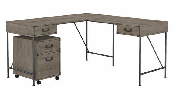 """L Shaped Desks Bush Furniture 60""""W L-Shaped Writing Desk with 2 Drawer Mobile File Cabinet"""