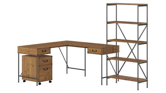 "L Shaped Desks Bush Furniture 60""W L-Shaped Writing Desk with Mobile File Cabinet and 5 Shelf Bookcase"