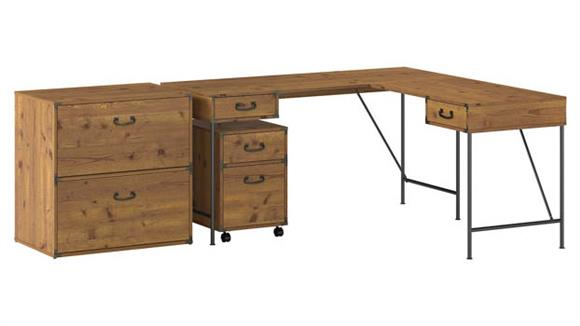 """L Shaped Desks Bush Furniture 60""""W L-Shaped Writing Desk with Lateral and Mobile File Cabinets"""