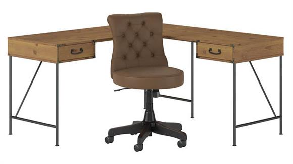 """L Shaped Desks Bush Furniture 60""""W L-Shaped Writing Desk with Mid Back Tufted Leather Office Chair"""
