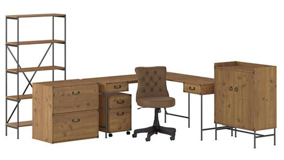 """L Shaped Desks Bush Furniture 60""""W L-Shaped Desk, Mobile File Cabinet, Lateral File Cabinet, 5 Shelf Bookcase, Storage Cabinet and Mid Back Tufted Leather Office Chair"""