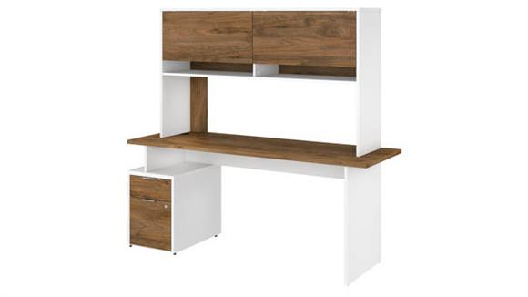 "Computer Desks Bush Furniture 72""W Desk with 2 Drawer File Cabinet and Hutch"
