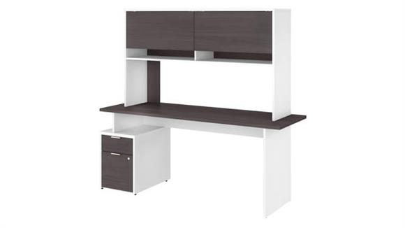 "Computer Desks Bush Furniture 72""W Desk with 2 Drawers and Hutch"