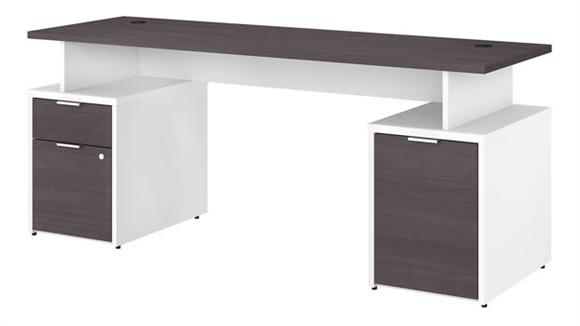 "Computer Desks Bush Furniture 72""W Desk with Drawers and Small Storage"