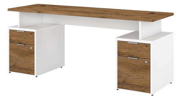 "Computer Desks Bush Furniture 72""W Desk with 4 Drawers"