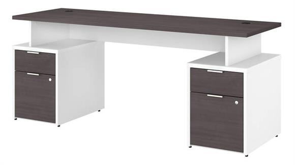 "Computer Desks Bush Furniture 72""W Desk with 4 Drawers"