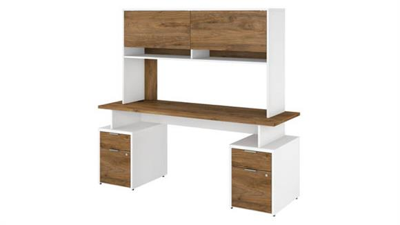 """Computer Desks Bush Furniture 72""""W Desk with 4 Drawers and Hutch"""