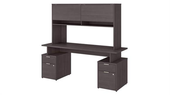 """Computer Desks Bush Furniture 72"""" W Desk with 4 Drawers and Hutch"""