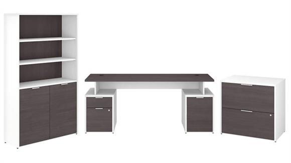 "Computer Desks Bush Furniture 72""W Desk with Storage, File Cabinets and 5 Shelf Bookcase"
