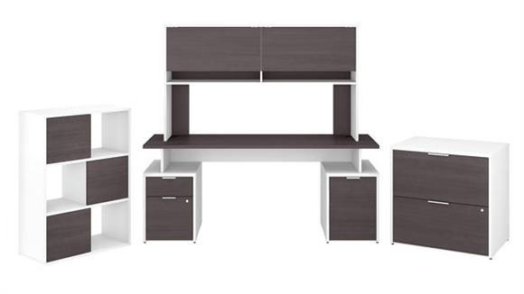 """Computer Desks Bush Furniture 72""""W Desk with Hutch, File Cabinets and 6 Cube Organizer"""