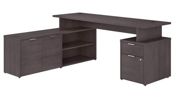 "L Shaped Desks Bush Furniture 72"" W L-Shaped Desk with Drawers"