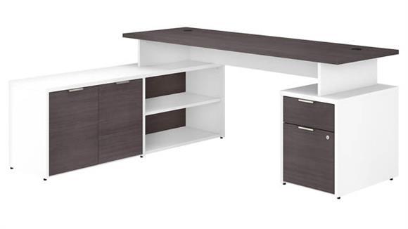 "L Shaped Desks Bush Furniture 72""W L-Shaped Desk with Drawers"