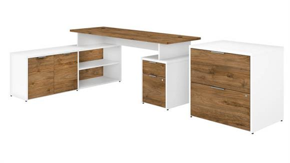 """L Shaped Desks Bush Furniture 72"""" W L-Shaped Desk with Drawers and Lateral File Cabinet"""