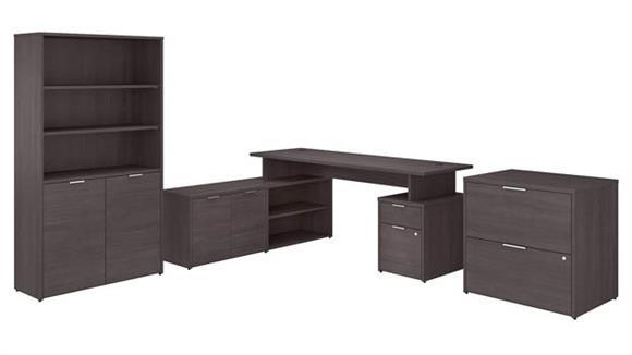 "L Shaped Desks Bush Furniture 72"" W L-Shaped Desk with Lateral File Cabinet and 5 Shelf Bookcase"