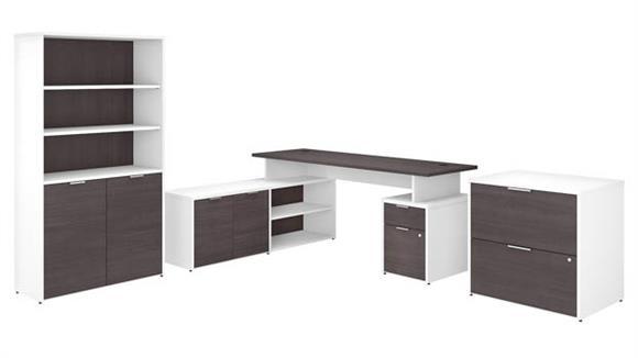 "L Shaped Desks Bush Furniture 72""W L-Shaped Desk with Lateral File Cabinet and 5 Shelf Bookcase"