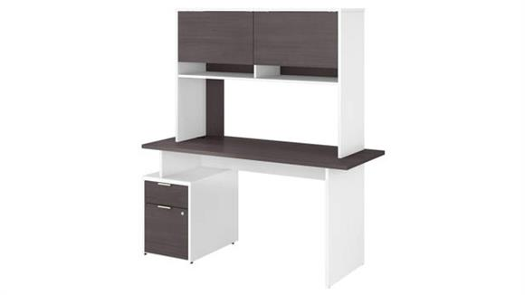 """Computer Desks Bush Furniture 60""""W Desk with 2 Drawers and Hutch"""