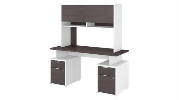 """Computer Desks Bush Furniture 60""""W Desk with 4 Drawers and Hutch"""