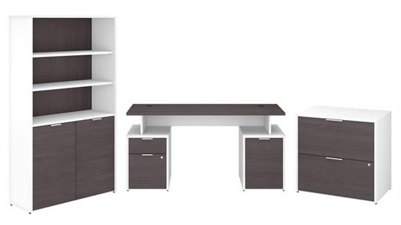"Computer Desks Bush Furniture 60""W Desk with Storage, File Cabinets and 5 Shelf Bookcase"