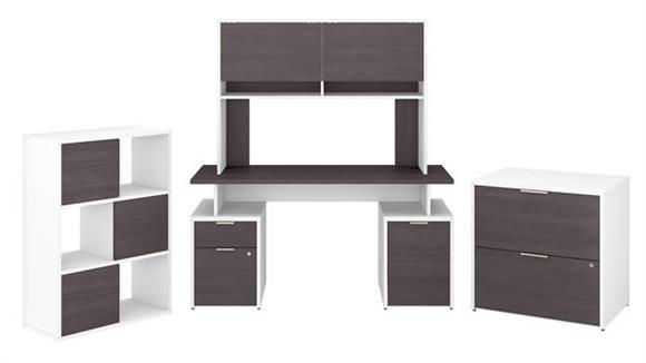 """Computer Desks Bush Furniture 60""""W Desk with Hutch, File Cabinets and 6 Cube Organizer"""