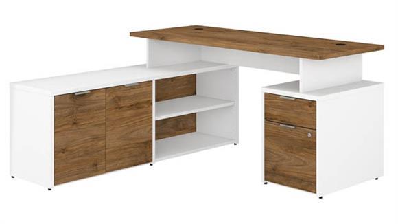 "L Shaped Desks Bush Furniture 60"" W L-Shaped Desk with Drawers"